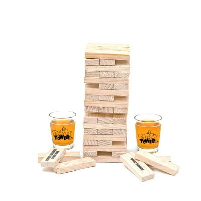 Imprezowa wieża jenga alkoholowa