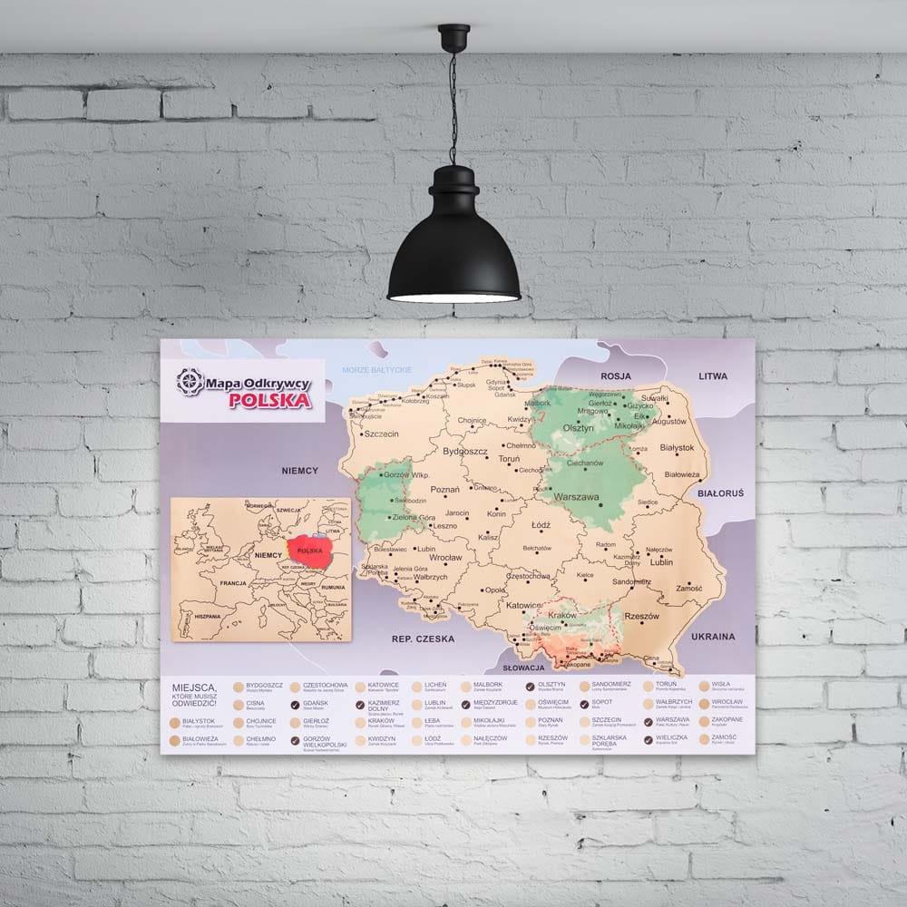 Mapka zdrapka Polski dla podróżnika patrioty