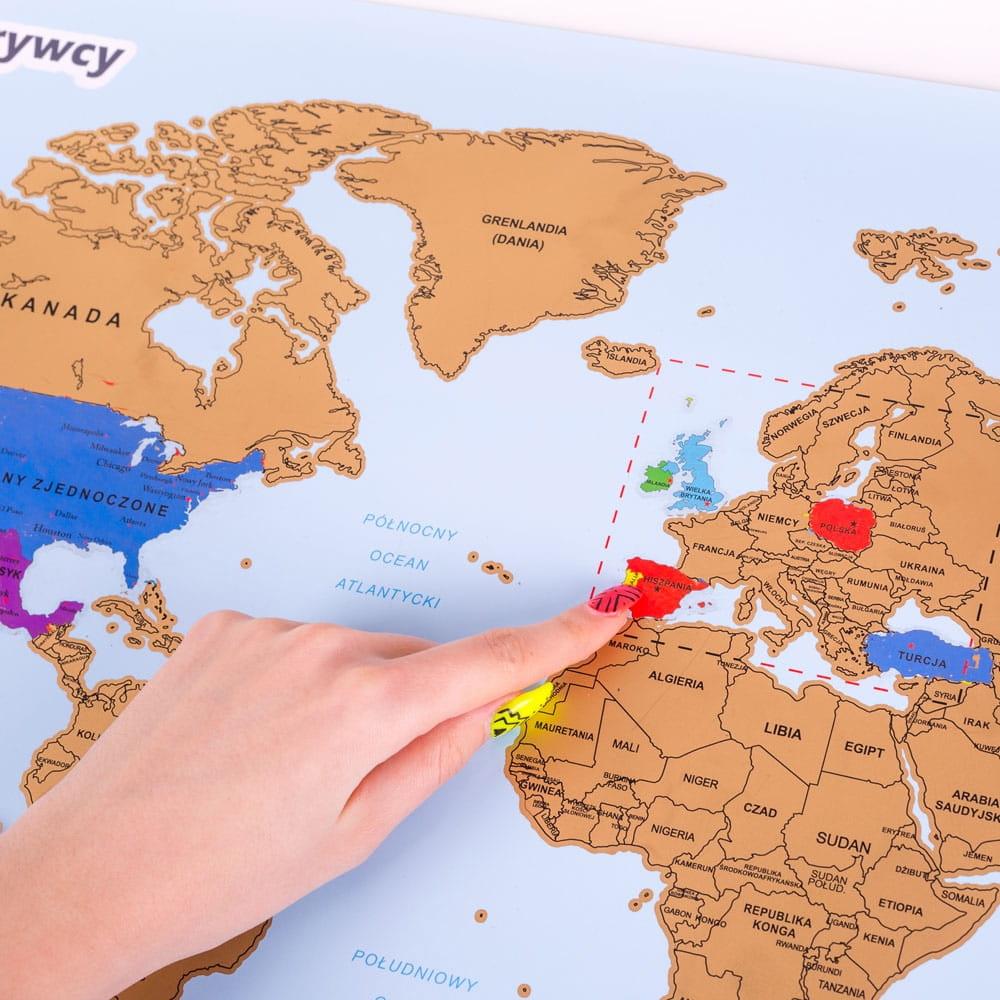 Mapka zdrapka świata podróżnika