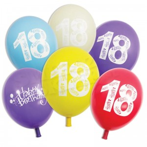 Balony na 18 - Happy Birthday 5szt.