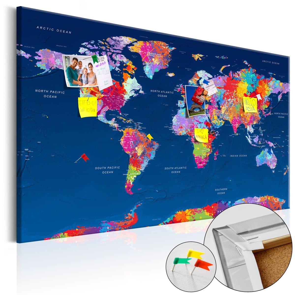 korkowa tablica - mapa świata