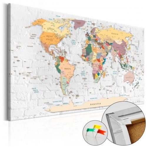Ścienna mapa świata - tablica korkowa  (120x80cm)