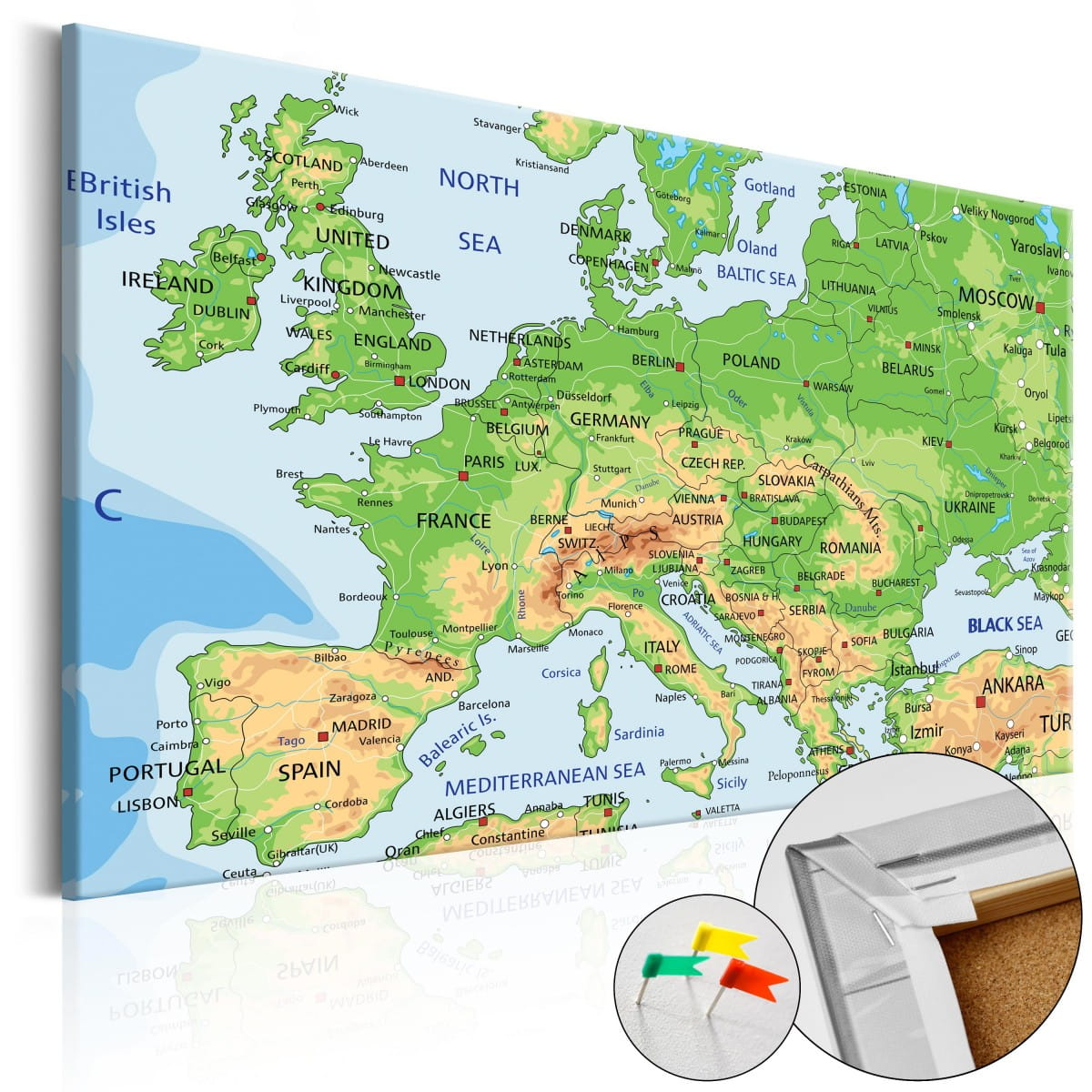 korkowa tablica - mapa europy